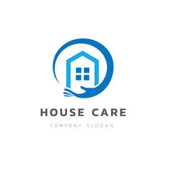House care logo. love home symbol