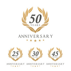 Vector set of anniversary golden signs logo