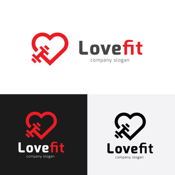 Fitness logo,Gym Logo,Love fitness symbol, Brand identity for sports and healthy style.