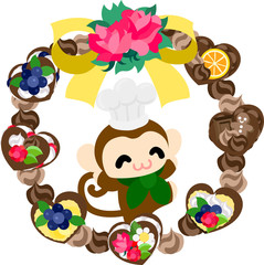 The pretty little monkey and a wreath of sweets