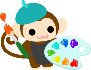 The pretty little monkey which does the figure of the painter