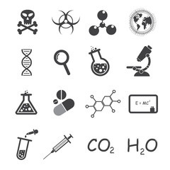 Trendy science icons on white.