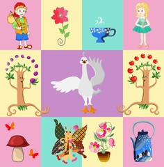 Childish seamless patchwork pattern with boy and girl, flowers, teapot and teacup, swan, mushroom,fruit trees and butterfly. Vector illustration.