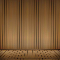 Brown wood floor texture and wood wall background empty room wit
