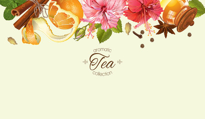 Vector vintage aromatic tea horizontal banner with citrus fruits,hibiscus, jasmine and linden flowers. With place for text.