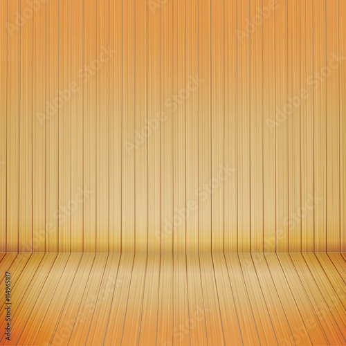 brown wood floor with wood background empty room with space vect