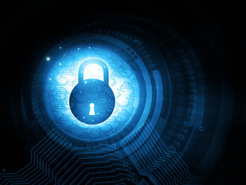Internet security. Safety concept. Closed pad lock on digital background