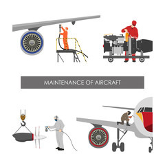 Repair and maintenance aircraft. Workers in overalls repair plan