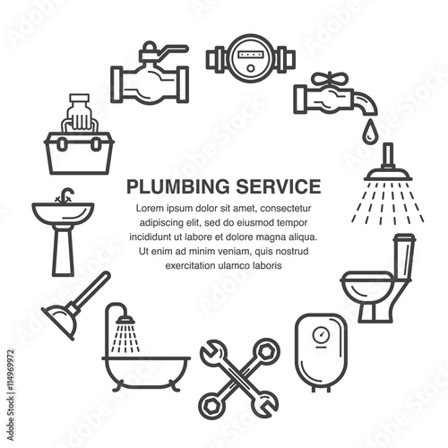 Line Art Icons Set For Plumbing Service Advertisement Or Banner