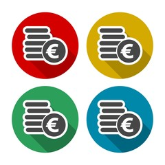 Euro coins flat icons set