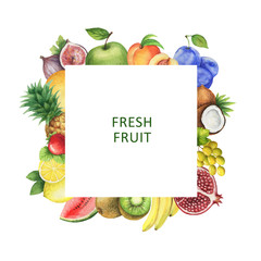 Watercolor square frame with fresh fruit.