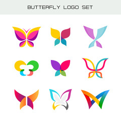 Butterfly colorful logo set. Vivid colors butterfly symbols in a different styles.