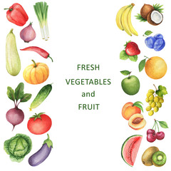 Watercolor collection of vegetables and fruits.
