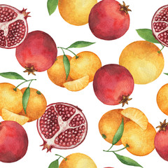 Watercolor seamless pattern with fresh pomegranates and oranges.