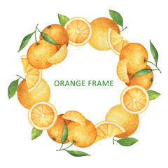 Watercolor round frame from oranges and tangerines.