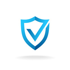 Shield with check mark badge logo. Secure is ok sign. Blue color ribbon style.