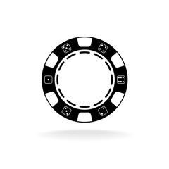 Casino poker chip black symbol with empty space in a center for a text or number.