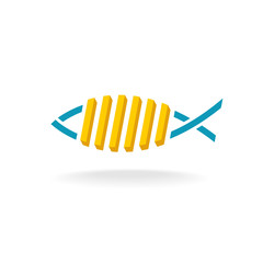 Fish and chips logo. Fast food symbol with linear fish silhouette.