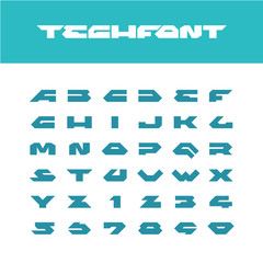 Tech font. Wide bold poster cornered letters. Industrial techno style font.