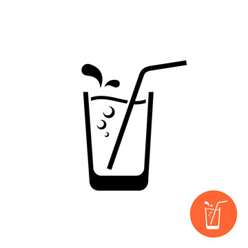 Glass of water or juice black icon. Glass with straw and sparkling bubbles and drops.