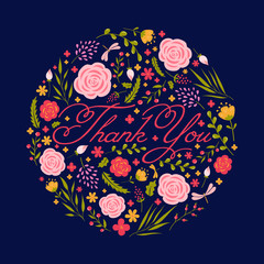 Thank you card. Vector illustration.
