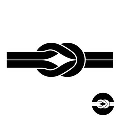 Knot black symbol. Two wire with loops logo.