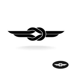 Knot with wings black silhouette title logo