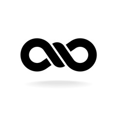 Infinity knot logo. Black chain link symbol with knot in a center.