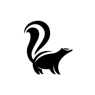 Skunk logo. Black flat color simple elegant skunk animal illustration