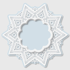 3D star frame, vignette with ornaments, lace frame,  bas-relief ornament,  festive pattern, white pattern, template greetings, vector