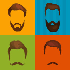 Mans hair set of beards and mustaches vector. Hipster style fashion beards and hair isolated illustration. Peoples hairstyle icon, collection of beards and mustaches for barbershop.Mans barber shop.