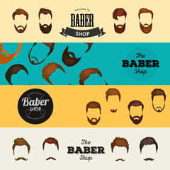 Mans hair set of beards and mustaches vector. Hipster style fashion beards and hair isolated illustration. Peoples hairstyle icon, collection of beards and mustaches for barbershop.Mans haircut barber