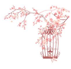 sakura flowers and bird cage