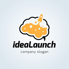 Idea launch logo,Rocket logo template,Brand identity for learning and education concept.
