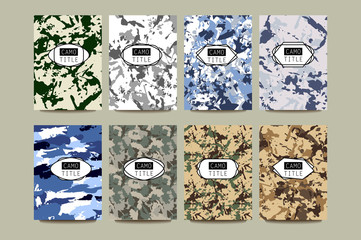 Set of Vintage Creative Cards with Camo, Camouflage Patterns.