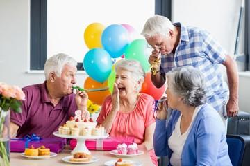 Seniors celebrating a birthday
