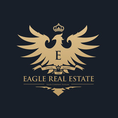 Eagle logo, Brand identity with eagle crest and crown symbol, Luxury logo design template.