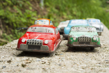 Miniature traffic, collection of antique toy cars
