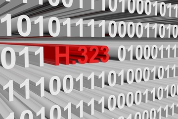 H. 323 in the form of binary code, 3D illustration