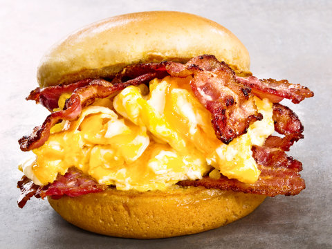 rustic american bacon egg and cheese sandwich