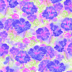 Abstract watercolor summer flowers. Seamless pattern. Bright colors. Hand painted. The unusual shape.