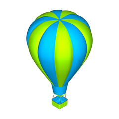 Hot air balloon.  3d Vector colorful illustration.3d isometric s