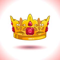 Fancy cartoon vector golden crown