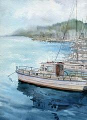 watercolor sea landscape with boats