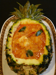 thai food - gaeng kua sap pa rod goong - red curry with shrimps and pineapple