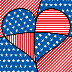 Bright abstract 4th of July heart in vector format.