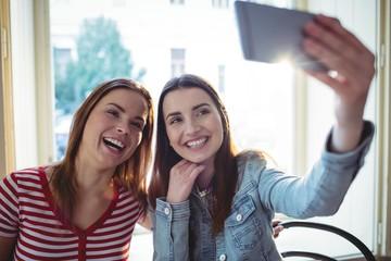 Cheerful female friends taking selfie at coffee shop