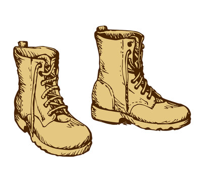 Military boots. Vector drawing