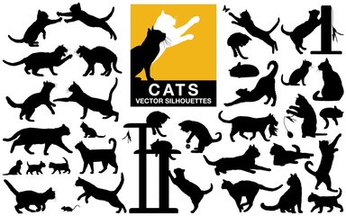 Cats and kittens vector silhouettes collection Wall mural