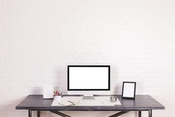 Designer desktop with screen